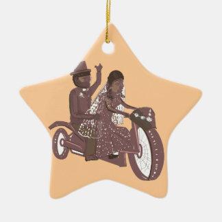Produtos do casamento do motociclista ornamento de cerâmica estrela