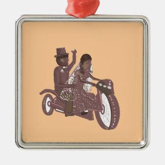 Produtos do casamento do motociclista ornamento quadrado cor prata