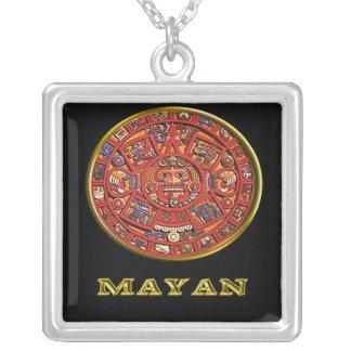 Produtos maias do calendário colar banhado a prata
