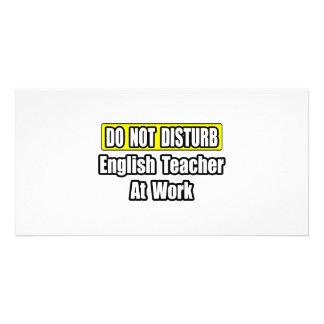 Professor de inglês no trabalho cartao com fotos personalizado