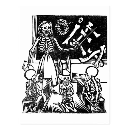 """Professor e estudantes de esqueleto """"dia do inoper cartão postal"""