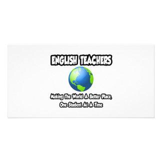 Professores de inglês… que fazem ao mundo um lugar cartoes com fotos
