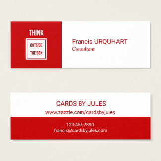 Profissional moderno branco vermelho do cartão de visitas mini