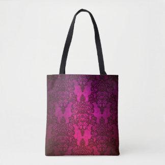 Profundamente - damasco floral do rico cor-de-rosa bolsas tote