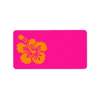 Profundamente - hibiscus cor-de-rosa e alaranjado etiqueta de endereço