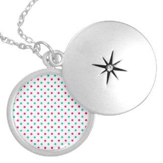 Profundamente - rosa, Aqua, polca branca Colar Medalhão