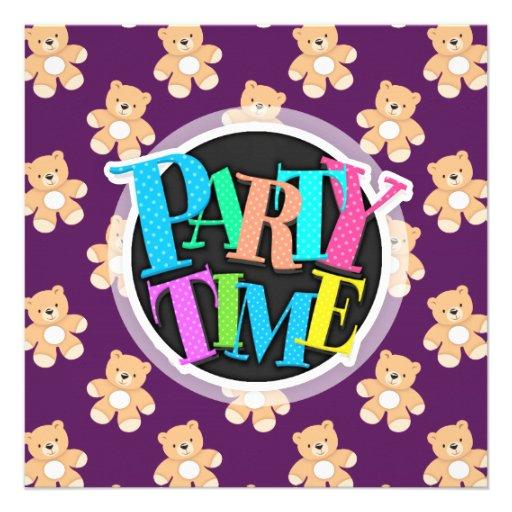 Profundamente - urso de ursinho roxo, ursos convite personalizado