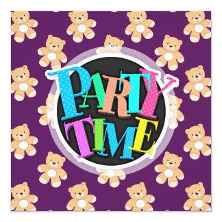 Profundamente - urso de ursinho roxo, ursos convite quadrado 13.35 x 13.35cm