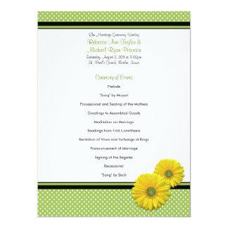 Programa amarelo do casamento das bolinhas da