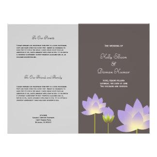 Programa cinzento moderno roxo do casamento da flyer 21.59 x 27.94cm