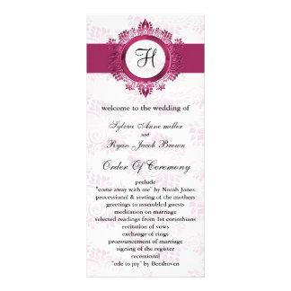 programa cor-de-rosa do casamento do monograma 10.16 x 22.86cm panfleto