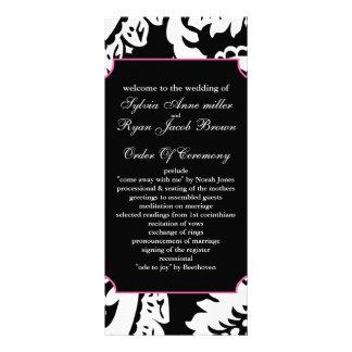 programa cor-de-rosa e preto do casamento 10.16 x 22.86cm panfleto