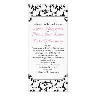 programa cor-de-rosa e preto do casamento panfleto informativo personalizado