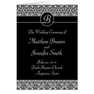 Programa da cerimónia de casamento e ordem de cart cartão comemorativo