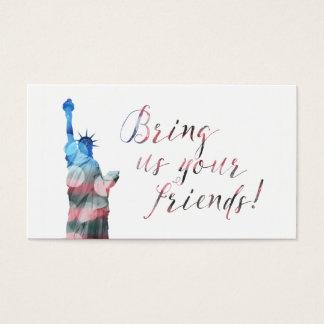 programa da referência da estátua da liberdade cartão de visitas