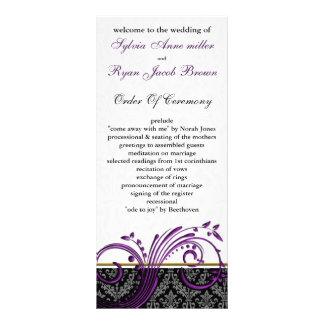 programa do casamento da violeta de damasco 10.16 x 22.86cm panfleto