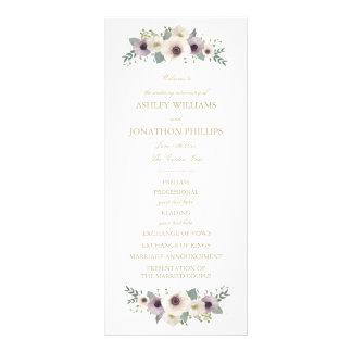Programa do casamento do buquê da anêmona 10.16 x 22.86cm panfleto