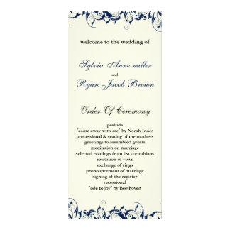 programa do casamento dos azuis marinhos e do 10.16 x 22.86cm panfleto