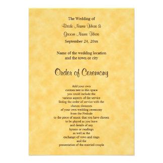 Programa do casamento no amarelo e no preto