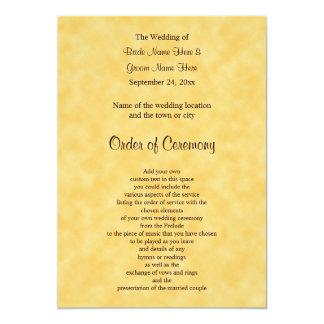 Programa do casamento no amarelo e no preto convite 12.7 x 17.78cm