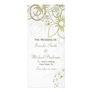 Programa do casamento para o verde e o casamento s 10.16 x 22.86cm panfleto