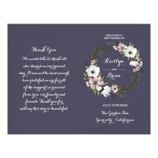 - Programa do casamento - roxo floral bonito Flyer 21.59 X 27.94cm