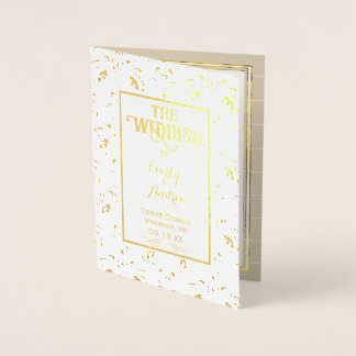PROGRAMA do casamento tema damasco do vintage da Cartão Metalizado