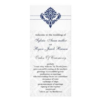 """programa do casamento tema damasco dos """"azuis 10.16 x 22.86cm panfleto"""