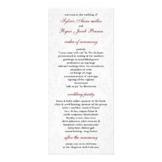 Programa do casamento tema damasco 10.16 x 22.86cm panfleto