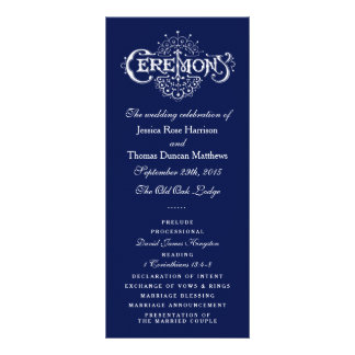 Programa elegante da cerimónia de casamento dos 10.16 x 22.86cm panfleto