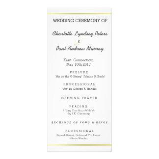 Programa elegante do casamento do ouro 10.16 x 22.86cm panfleto