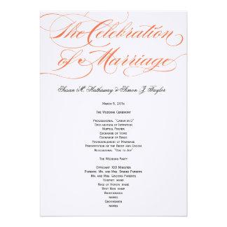 Programa elegante do casamento do roteiro - laranj convites personalizados