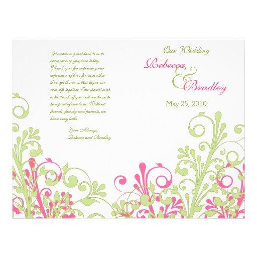 Programa floral abstrato do casamento do rosa quen modelo de panfleto