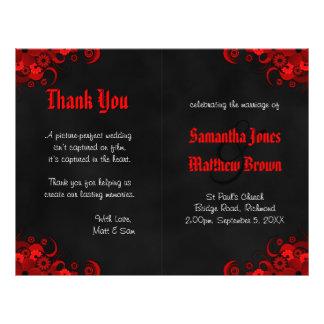 Programa floral preto e vermelho do casamento da flyer 21.59 x 27.94cm