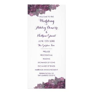 Programa floral roxo do casamento 10.16 x 22.86cm panfleto