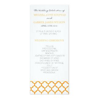 "Programa marroquino alaranjado da cerimónia de convite 10.16"" x 23.49cm"