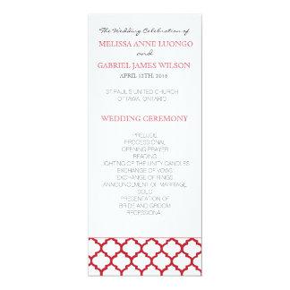 """Programa marroquino vermelho da cerimónia de convite 10.16"""" x 23.49cm"""