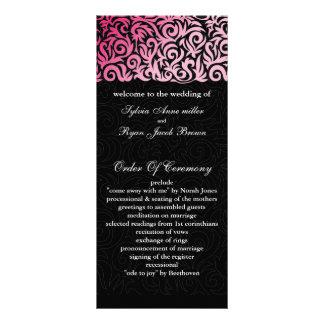programa preto cor-de-rosa do casamento 10.16 x 22.86cm panfleto