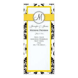 "Programa preto do casamento do amarelo do damasco convite 10.16"" x 23.49cm"