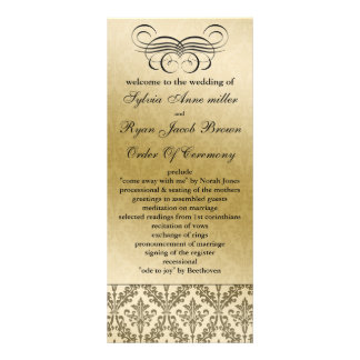 programa preto do casamento 10.16 x 22.86cm panfleto
