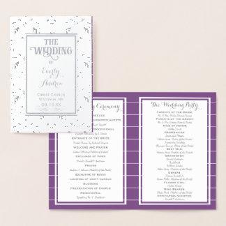 PROGRAMA roxo de prata do casamento tema damasco Cartão Metalizado