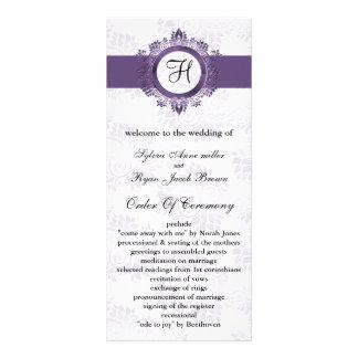 programa roxo do casamento do monograma 10.16 x 22.86cm panfleto