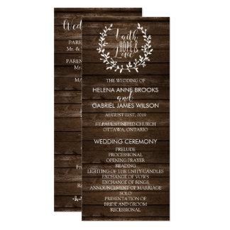 "Programa rústico da cerimónia de casamento convite 10.16"" x 23.49cm"
