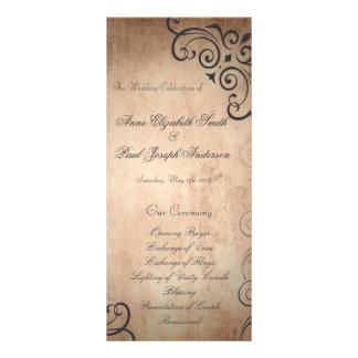 Programa rústico do casamento vintage 10.16 x 22.86cm panfleto