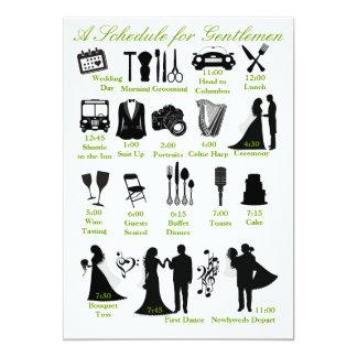 Programação de Itenerary do casamento para Convite 12.7 X 17.78cm