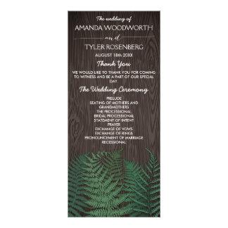 Programas botânicos rústicos do casamento da 10.16 x 22.86cm panfleto