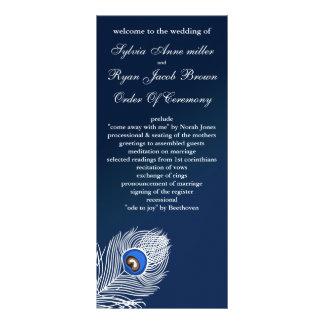 Programas brancos e azuis elegantes do pavão 10.16 x 22.86cm panfleto