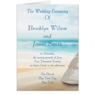 Programas da cerimónia de casamento da praia cartão de nota