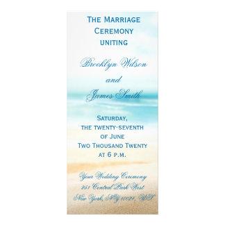 Programas da cerimónia de casamento da praia planfetos informativos coloridos