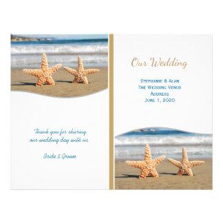 Programas do casamento de praia do casal da flyer